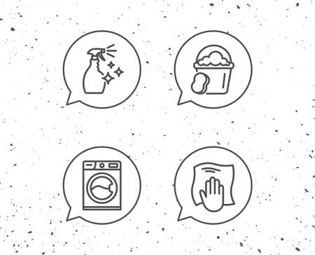 Speech bubbles with cleaning symbols.