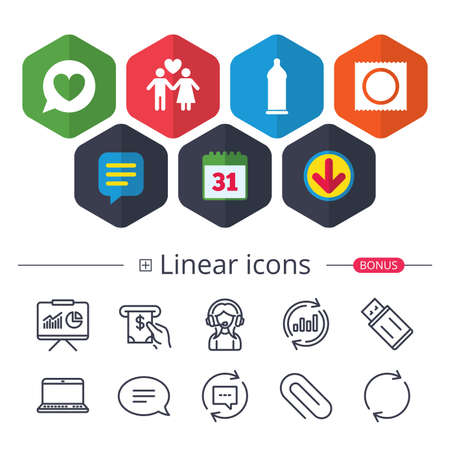 Calendar, Speech bubble and Download signs. Condom safe sex icons. Lovers couple signs. Male love female. Speech bubble with heart. Chat, Report graph line icons. More linear signs. Editable stroke Illustration
