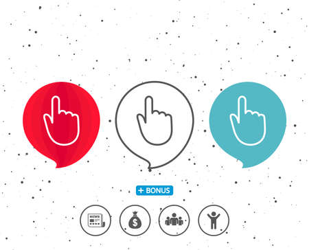 Speech bubbles with symbol. Hand Click line icon. Finger touch sign. Cursor pointer symbol. Bonus with different classic signs. Random circles background. Vector Ilustração