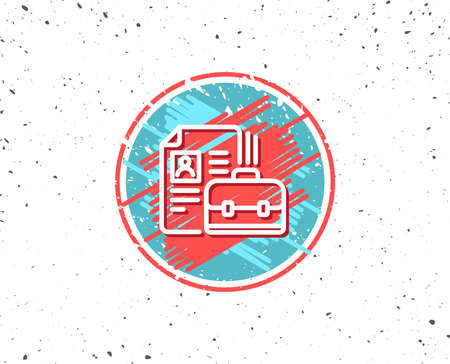 Grunge button with symbol. Business case with CV line icon. Portfolio symbol. Vacancy or Hiring sign. Random background. Vector Illustration