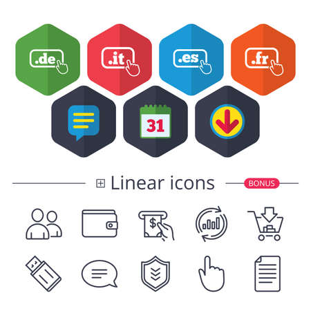 Calendar, Speech bubble and Download signs. Top-level internet domain icons. De, It, Es and Fr symbols with hand pointer. Unique national DNS names. Chat, Report graph line icons. More linear signs