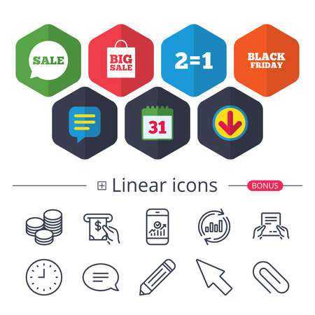 Calendar, Speech bubble and Download signs. Sale speech bubble icons. Two equals one. Black friday sign. Big sale shopping bag symbol. Chat, Report graph line icons. More linear signs. Editable stroke