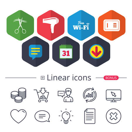 Calendar, Speech bubble and Download signs. Hotel services icons. Wi-fi, Hairdryer and deposit lock in room signs. Wireless Network. Hairdresser or barbershop symbol. Chat, Report graph line icons Иллюстрация