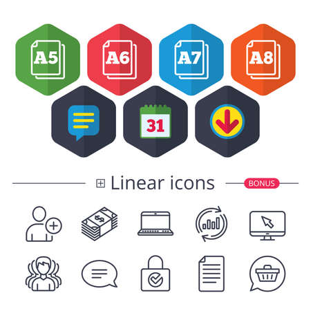 Calendar, Speech bubble and Download signs. Paper size standard icons. Document symbols. A5, A6, A7 and A8 page signs. Chat, Report graph line icons. More linear signs. Editable stroke. Vector Ilustração