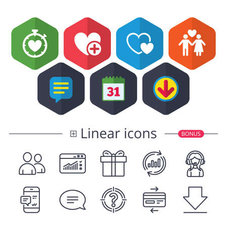Calendar, Speech bubble and Download signs. Valentine day love icons. Love heart timer symbol. Couple lovers sign. Add new love relationship. Chat, Report graph line icons. More linear signs. Vector Illustration