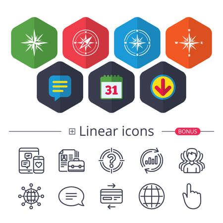 Calendar, Speech bubble and Download signs. Windrose navigation icons. Compass symbols. Coordinate system sign. Chat, Report graph line icons. More linear signs. Editable stroke. Vector