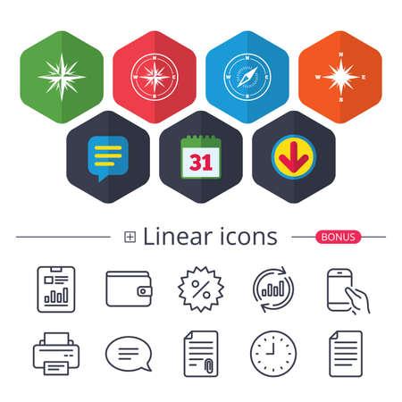 Calendario, fumetto e segni di download. Windrose icone di navigazione. Simboli bussola Segno di sistema di coordinate. Chat, riporta le icone delle linee del grafico. Più segni lineari Colpo modificabile. Vettore