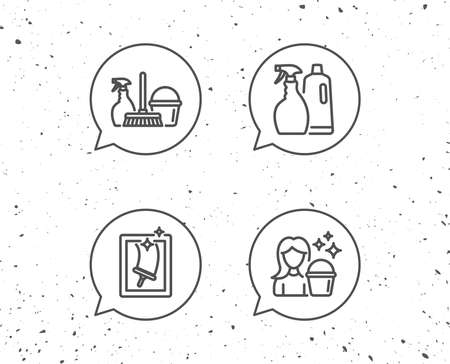 Speech bubbles with signs. Spray, Window Cleaning and Maid equipment line icons. Bucket, Mop and Housekeeping signs. Grunge background. Editable stroke. Vector Ilustracja