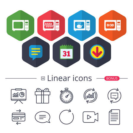 Calendar, Speech bubble and Download signs. Microwave oven icons. Cook in electric stove symbols. Grill chicken with timer signs. Chat, Report graph line icons. More linear signs. Editable stroke Ilustração