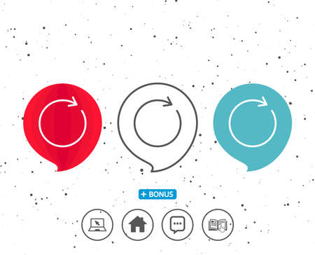 Speech bubbles with symbol. Refresh line icon. Rotation arrow sign. Reset or Reload symbol. Bonus with different classic signs. Random circles background. Vector