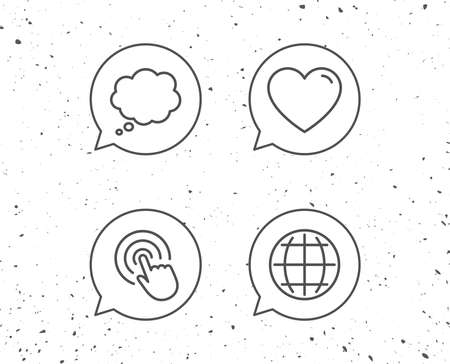 Speech bubbles with signs. Globe internet, Speech bubble and Click line icons. Heart or Love sign. Grunge background. Editable stroke. Vector Ilustracja