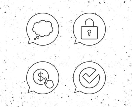 Speech bubbles with signs. Locker, Check and Comic speech bubble line icons. Pay or Buy dollars sign. Grunge background. Editable stroke. Vector Illustration