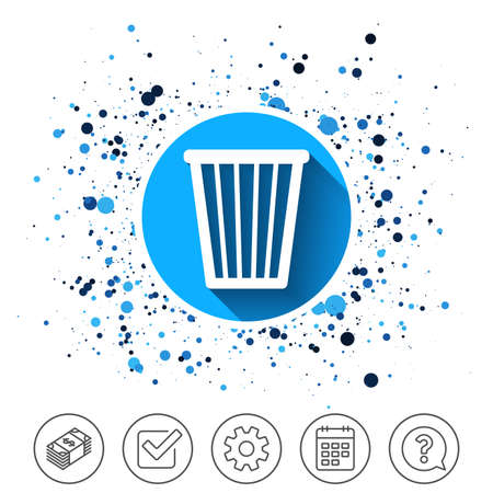 Button on circles background. Recycle bin sign icon. Bin symbol. Calendar line icon. And more line signs. Random circles. Editable stroke. Vector