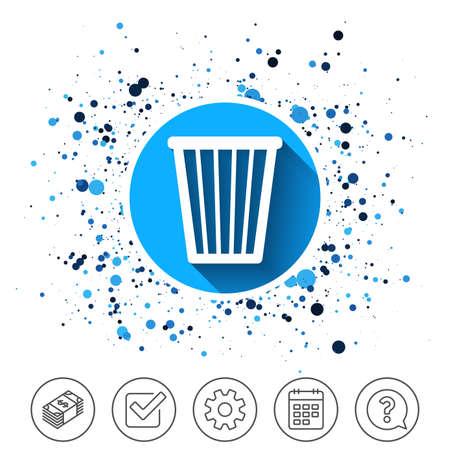 Button on circles background. Recycle bin sign icon. Bin symbol. Calendar line icon. And more line signs. Random circles. Editable stroke. Vector Stok Fotoğraf - 88533587