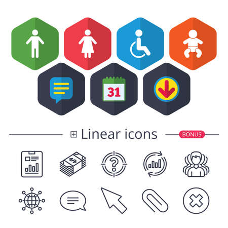 Calendar, Speech bubble and Download signs. WC toilet icons. Human male or female signs. Baby infant or toddler. Disabled handicapped invalid symbol. Chat, Report graph line icons. More linear signs Иллюстрация