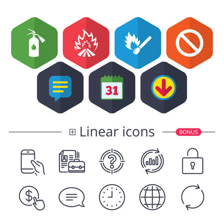 Calendar, Speech bubble and Download signs. Fire flame icons. Fire extinguisher sign. Prohibition stop symbol. Burning matchstick. Chat, Report graph line icons. More linear signs. Editable stroke