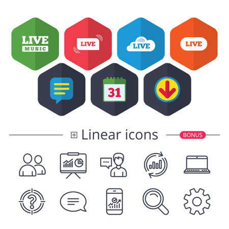 Calendar, Speech bubble and Download signs. Live music icons. Karaoke or On air stream symbols. Cloud sign. Chat, Report graph line icons. More linear signs. Editable stroke. Vector