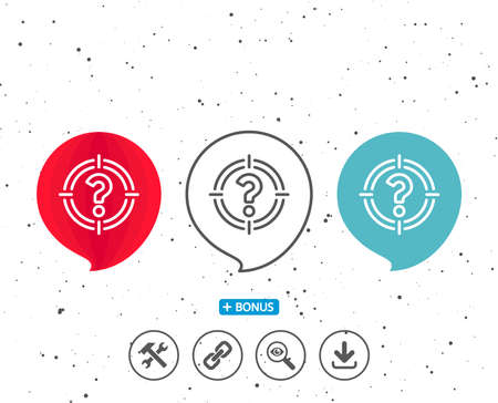 Speech bubbles with symbol. Target with Question mark line icon. Aim symbol. Help or FAQ sign. Bonus with different classic signs. Random circles background. Vector