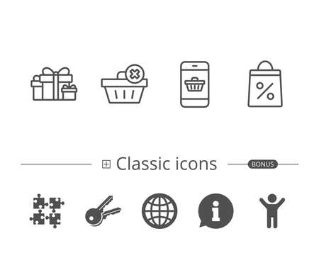 Gift box, Discount and Sale line icons. Shopping cart symbol. Online buying. Information speech bubble sign. And more signs. Editable stroke. Vector
