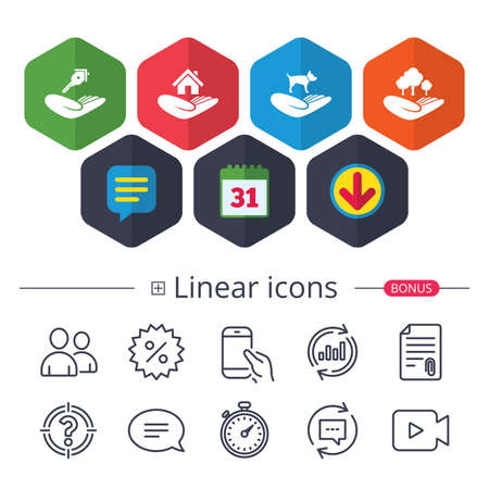 Calendar, Speech bubble and Download signs. Helping hands icons. Shelter for dogs symbol. Home house or real estate and key signs. Save nature forest. Chat, Report graph line icons. More linear signs