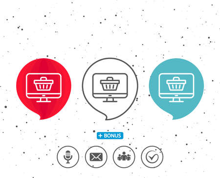 Speech bubbles with symbol. Online Shopping cart line icon. Monitor sign. Supermarket basket symbol. Bonus with different classic signs. Random circles background. Vector