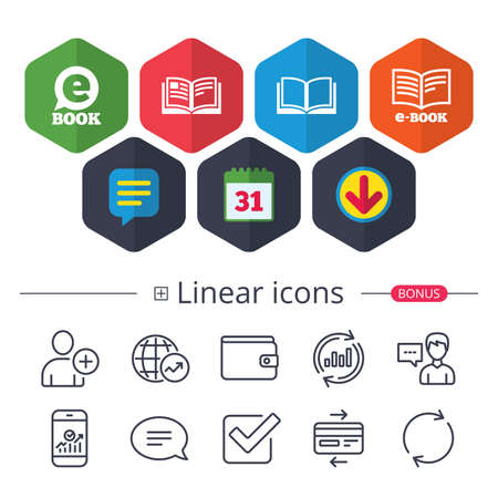 Calendar, Speech bubble and Download signs. Electronic book icons. E-Book symbols. Speech bubble sign. Chat, Report graph line icons. More linear signs. Editable stroke. Vector