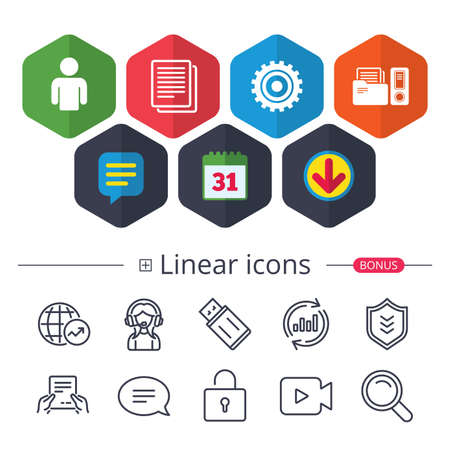 Calendar, Speech bubble and Download signs. Accounting workflow icons. Human silhouette, cogwheel gear and documents folders signs symbols. Chat, Report graph line icons. More linear signs. Vector Ilustrace