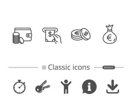 Money bag, Cash and Wallet line icons. ATM, Currency and Coins signs. Banking, Euro and Dollar symbols. Information speech bubble sign. And more signs. Editable stroke. Vector