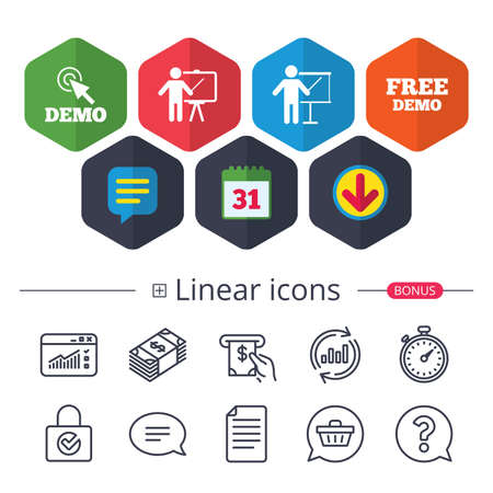 Calendar, Speech bubble and Download signs. Demo with cursor icon. Presentation billboard sign. Man standing with pointer symbol. Chat, Report graph line icons. More linear signs. Editable stroke 版權商用圖片 - 88533689