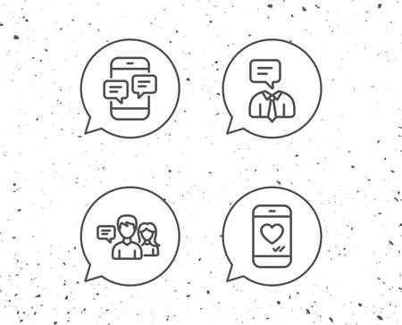 Discurso burbujas con signos. Mensaje, redes sociales y los iconos de línea de comunicación. Como, Conversación y signos de chat SMS. Fondo de Grunge. Trazo editable Vector Foto de archivo - 88533691