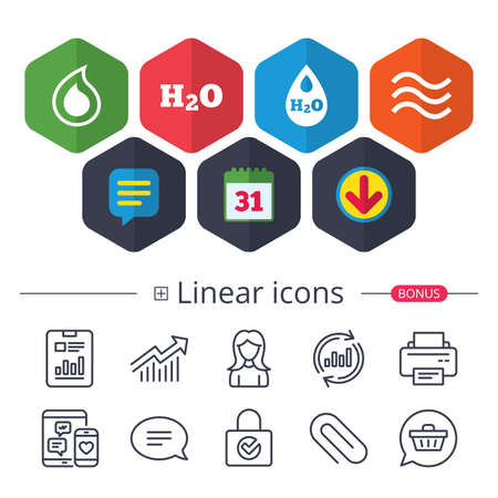 Calendar, Speech bubble and Download signs. H2O Water drop icons. Tear or Oil drop symbols. Chat, Report graph line icons. More linear signs. Editable stroke. Vector Illustration
