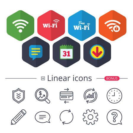 Calendar, Speech bubble and Download signs. Free Wifi Wireless Network icons. Wi-fi zone locked symbols. Password protected Wi-fi sign. Chat, Report graph line icons. More linear signs. Vector