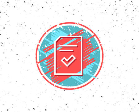 Grunge button with symbol. Checked Document line icon. Information File with Check sign. Correct Paper page concept symbol. Random background. Vector Illustration