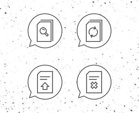 Tekstballonnen met tekens. Document, bewerk en upload lijn iconen vector illustratie.