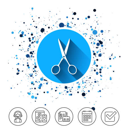 Button on circles. Scissors hairdresser icon on white background, vector illustration. Illustration