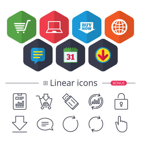 Calendar, Speech bubble and Download signs, Online shopping icons such as notebook pc, shopping cart, buy now arrow and internet globe symbol in colored icons with extra linear signs in black and white illustration. Иллюстрация