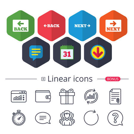 Calendar, speech bubble and download signs. Back and next navigation icon vector illustration.