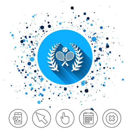 Button on circles. Tennis rackets with ball sign icon vector illustration.