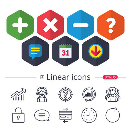 Calendar, Speech bubble and Download signs. Plus and minus icons. Delete and question FAQ mark signs. Enlarge zoom symbol. Chat, Report graph line icons. More linear signs. Editable stroke. Vector