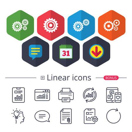 Calendar, speech bubble and download signs. Cogwheel gear icons vector illustration. Çizim