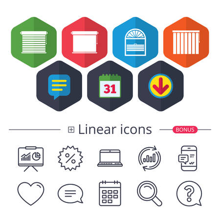 Calendar, speech bubble and download signs. Louvers icons on white background, vector illustration.