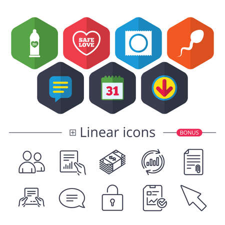 Calendar, speech bubble and download signs. Safe sex love icons vector illustration.