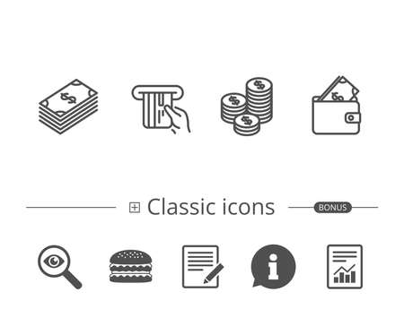 Money, cash and wallet line icons on white background, vector illustration. Illustration