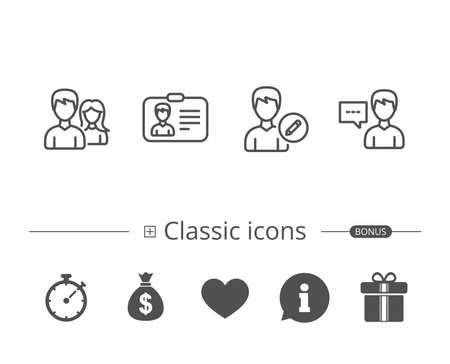 Male and Female, Edit Profile and ID card line icons, Talk sign, Information speech bubble sign and more signs in editable stroke, black and white illustration. Illustration