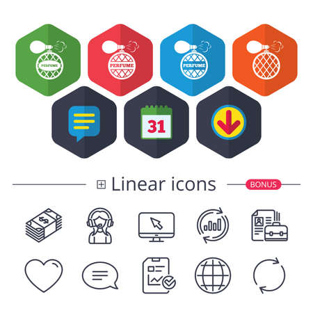 Calendar, speech bubble and download signs. Perfume bottle icons vector illustration. Ilustracja