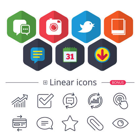 Calendar, speech bubble and download signs. Social media icons on white background, vector illustration.