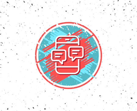 Grunge button with symbol. Phone Message line icon on white background, vector illustration. Reklamní fotografie - 88531713