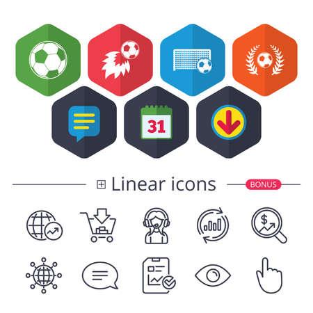 Kalender, tekstballon en downloadborden. Voetbalpictogrammen op witte achtergrond, vectorillustratie.