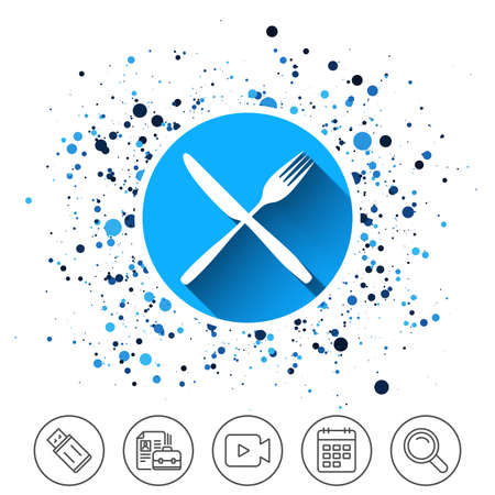 Button on circles. Eat sign icon on white background, vector illustration. Illustration