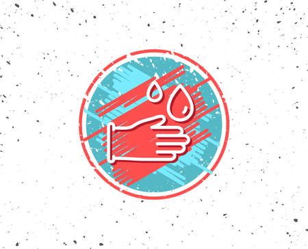 Grunge button with symbol. Cleaning rubber gloves line icon on white background, vector illustration. Çizim